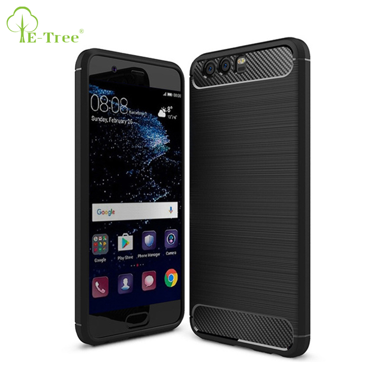 10pcs MOQ carbon fiber brush TPU back cover case for HUAWEI P10, shockproof phone case for HUAWEI P10