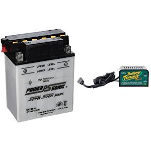 Power-Sonic CB12C-A Conventional Powersport Battery and Deltran Battery Tender (021-0128) 1.25 Amp Battery Charger Bundle