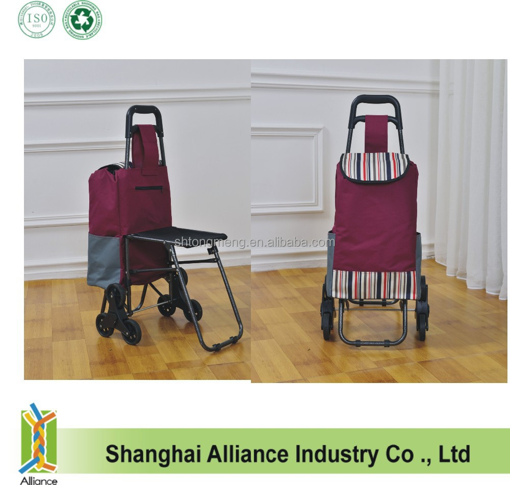 Foldable Supermaket Grocery Shopping Trolley with Folding Chair Seat