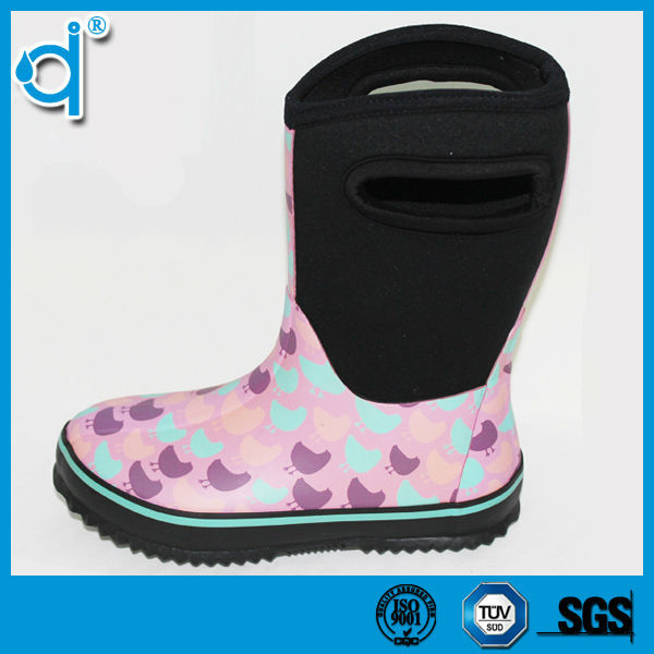 New Style Chicken Printed Women Neoprene Rubber Boots