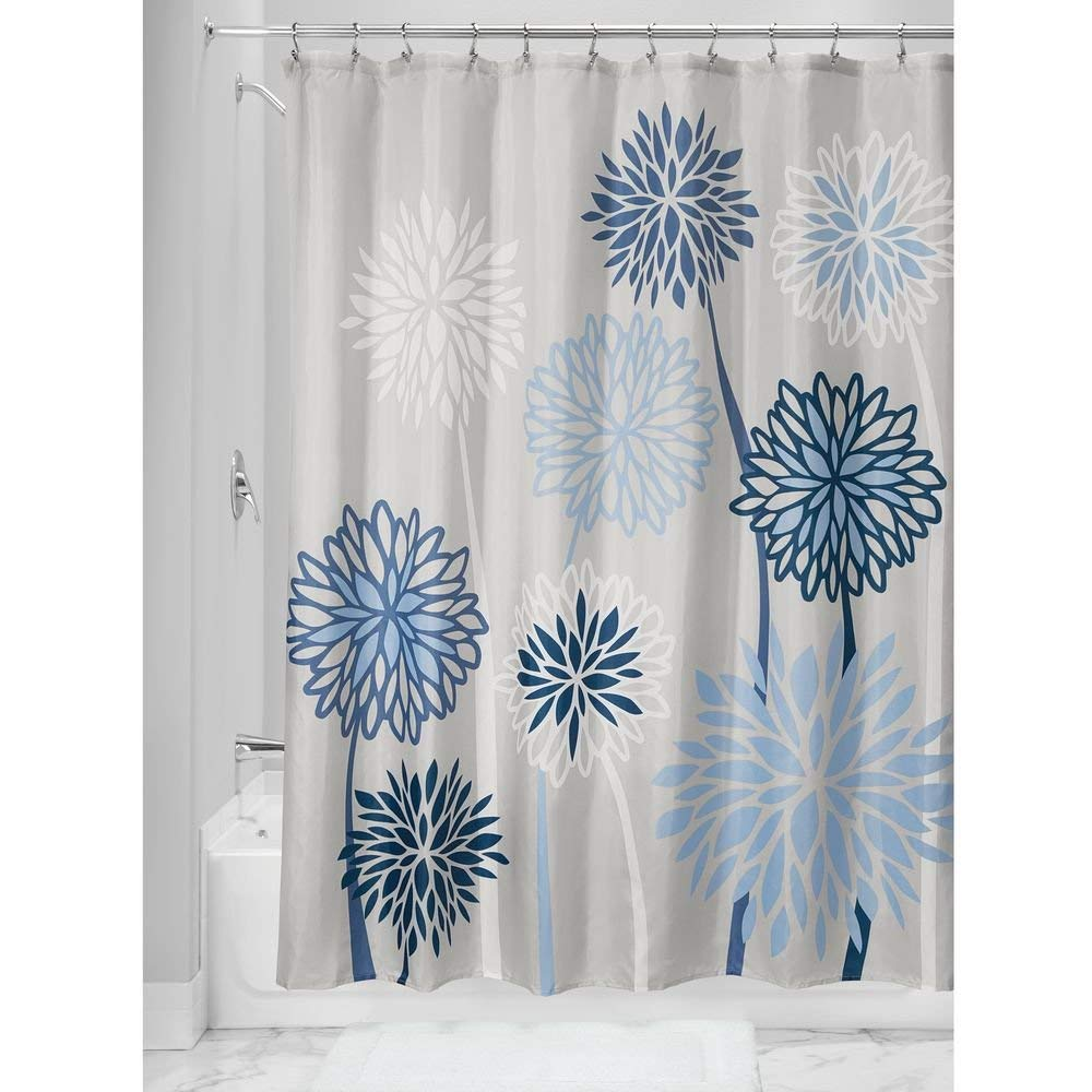 Get Quotations InterDesign Zinnia Floral Shower Curtain 18288 X 0254 Cm Gray Blue