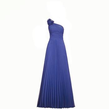 3a3268710 Azul real largo un hombro vestidos de dama de honor flor pliegues dama  vestidos de fiesta