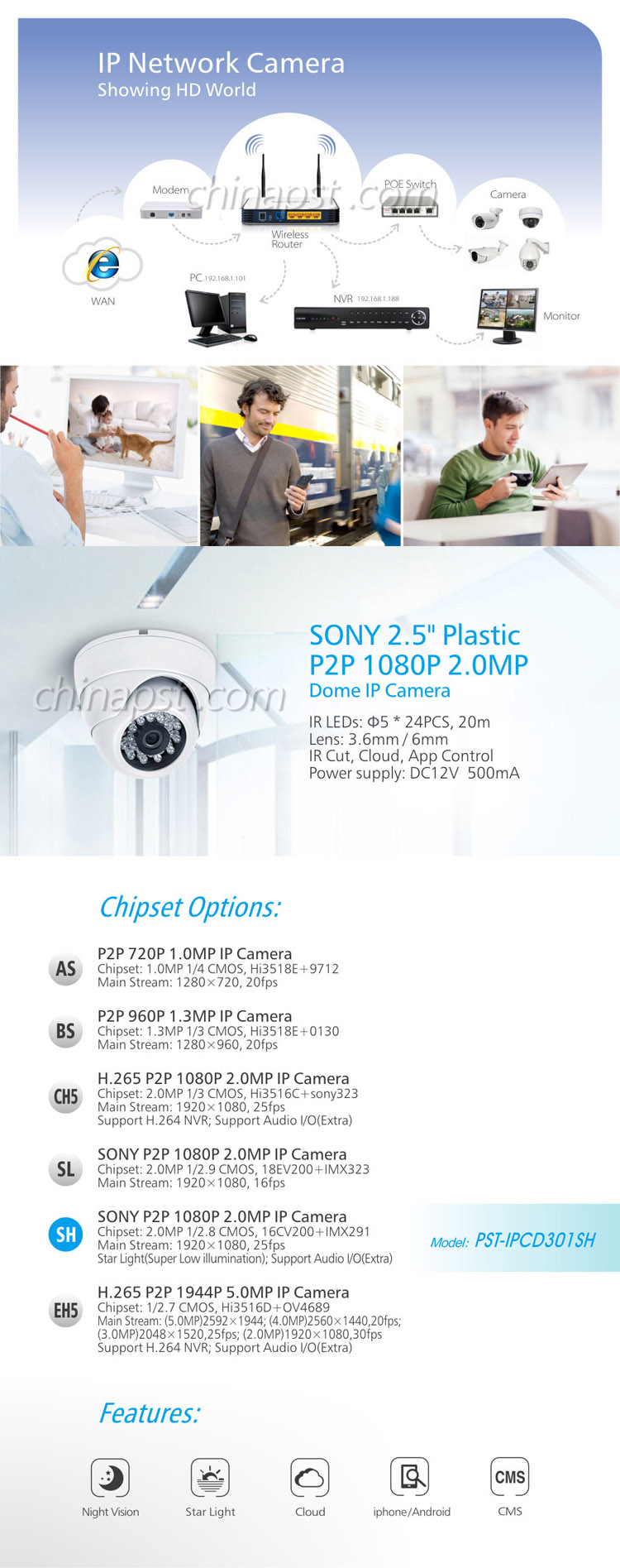 SONY P2P 2.0MP Super Lage Verlichting Video Conference Camera PST-IPCD301SH