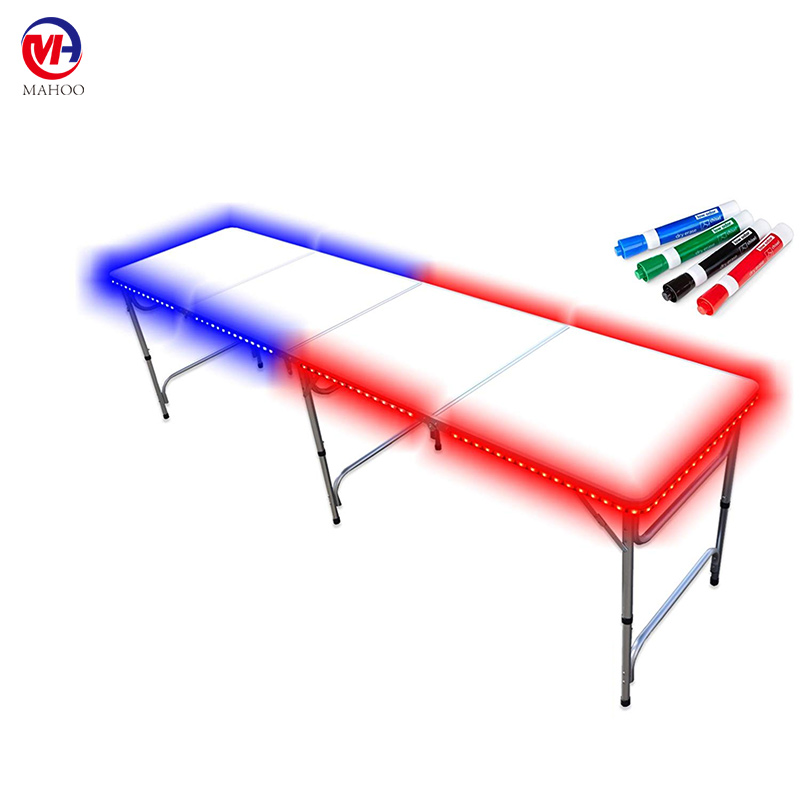 LED Lights & Markers Portable Folding Table Dry Erase Surface 8 ft or 4 ft Adjustable Height party beer pong table