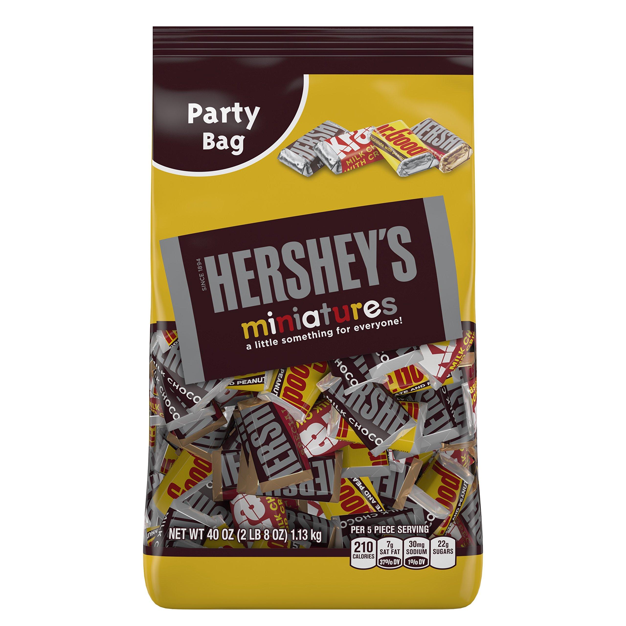 HERSHEY'S Chocolate Candy Bar Assortment, Miniatures (Hershey's, Krackel, Mr Goodbar, Special Dark), 40 Ounce Bulk Candy