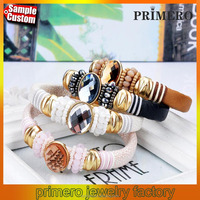 Hot Leather Magnetic Button DIY Fashion PU Leather Snap Jewelry Bracelets