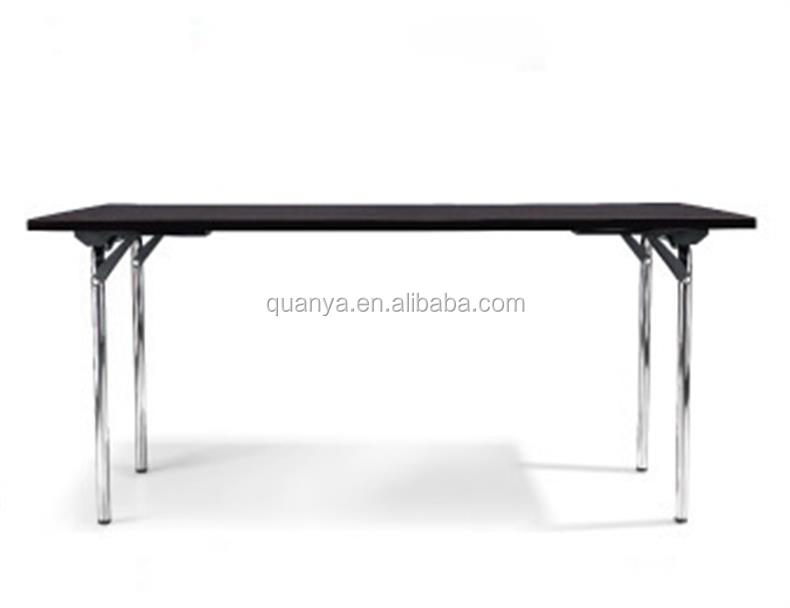 160*90*72.5cm rectangle shape table stable folded four chromed legs wooden top office table