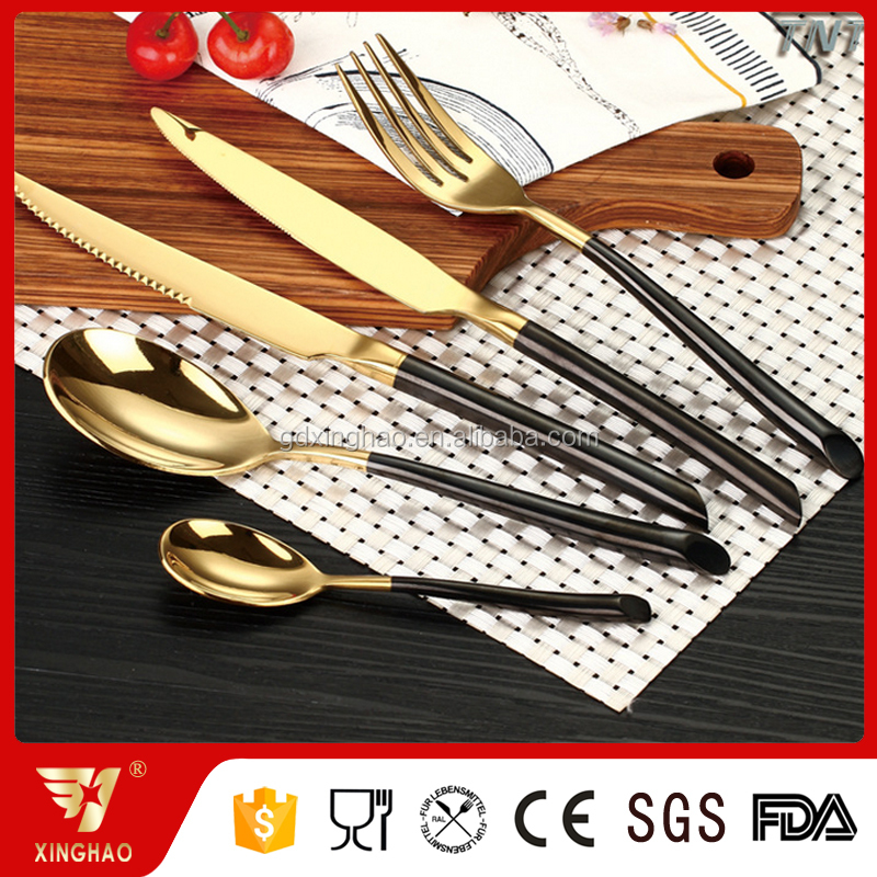 Fancy Design Titanium Plating Stainless Steel Cutlery Set, Gold Copper Flatware