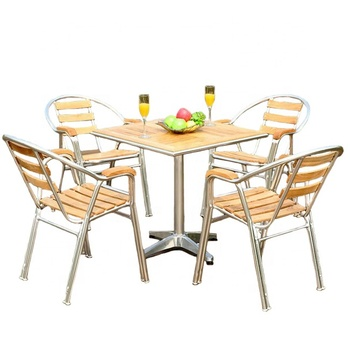 Hotel Luxury Garden WPC Dining Set Patio Used Wood Plastic Composite Aluminum Furniture Material