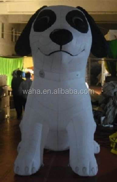 Cheap outdoor promotional inflatable cartoon/animal/model/character/white/inflatable dog with black elye and ear-300cm W474