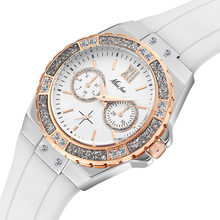 MISSFOX часы женские Geneva модные женские часы Роскошные бриллиантовые белые с резиновым ремешком женские кварцевые наручные часы Xfcs 2019 Новинка(Китай)