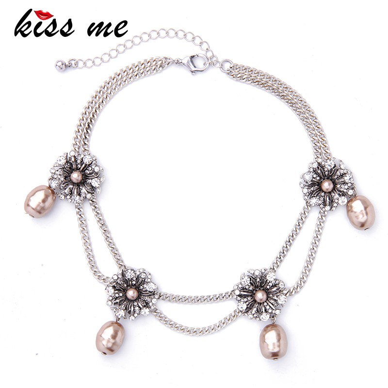 2017 Summer Flower Crystal Pearl Pendant Choker Necklaces