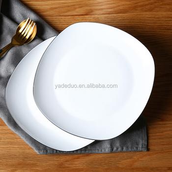 Fancy customized ceramic dessert cake plates bone china black rim thin dishes for restaurant & Fancy Customized Ceramic Dessert Cake Plates Bone China Black Rim ...