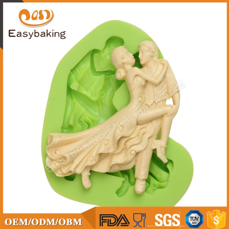 ES-1411 Dancing lady and gentleman Silicone Molds for Fondant Cake Decorating