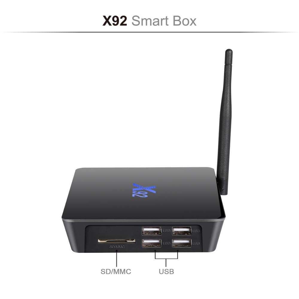 X92 TV Box Amlogic S912 Android 6.0 Octa-Core 2.4GHz/5.0GHz WiFi HD 2.0A USB SD Card Slot Smart TV Box 2G 3G 16G 32GB