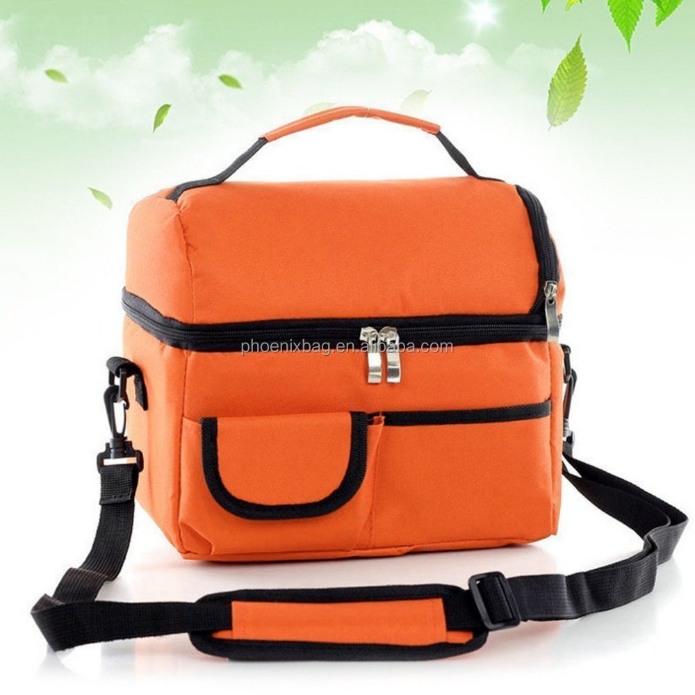 Fashion Lunch Box Bag Multifunctional, Long Time Cooler Bag, Large Size 2 Layers Insulated Cooler Compartment