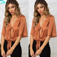 HFS1288B Western New Fashion Silk Tops Sexy Lady Lace Blouses