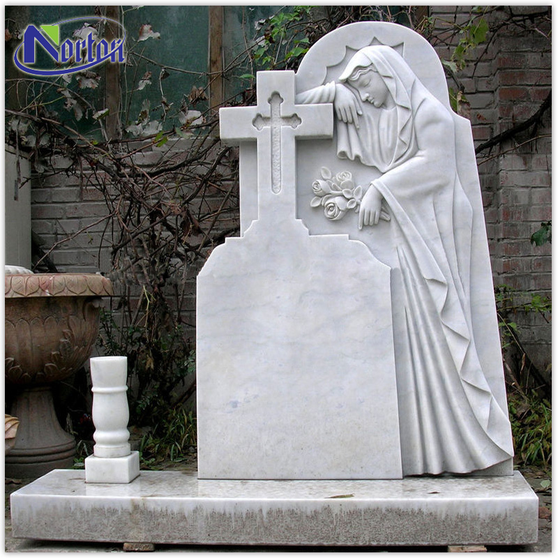 Hand carved religious stone carving cross headstones white marble tombstone NTST-006Y