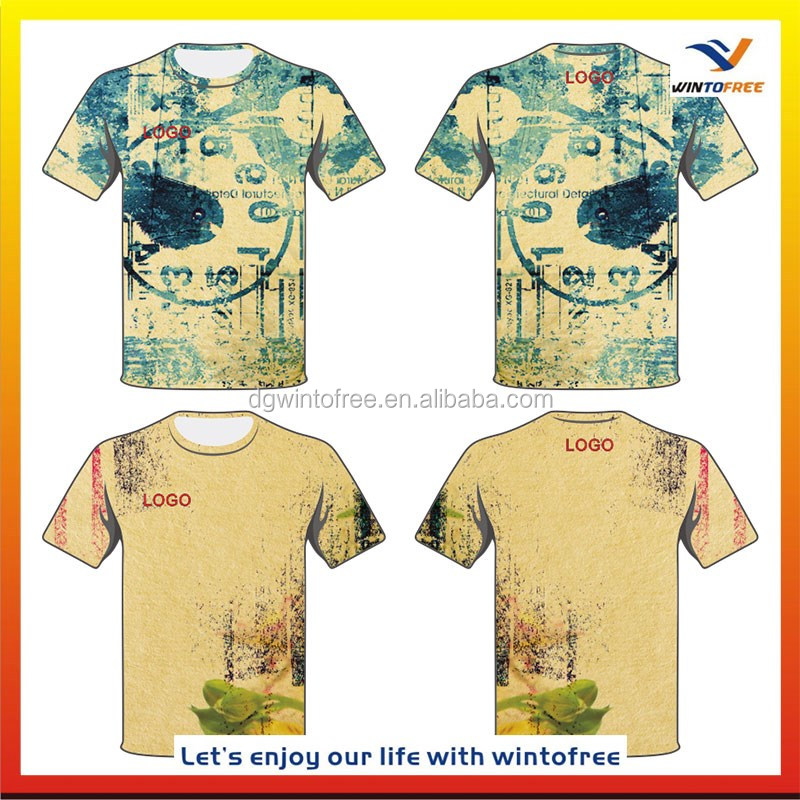 Custom 100 Polyester All Size Sports Tee Shirts Design