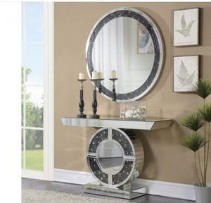 Telite Modern Black Grey Crystal Diamond Mirrored Console Table with Round Wall Mirror