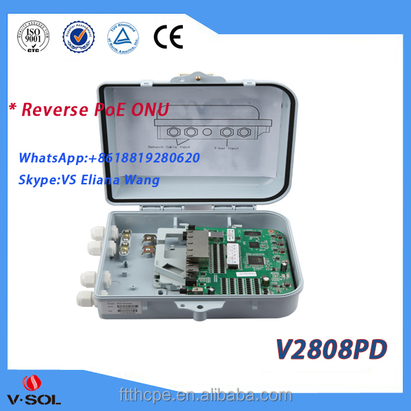 8*10/100Mbps Ethernet Interfaces epon reverse poe onu: V2808PD