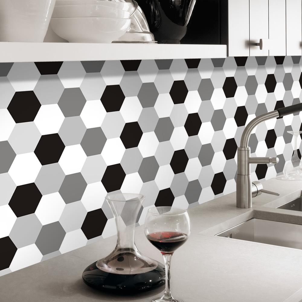 Carrelage Mural Noir Et Blanc Cuisine blanc noir gris hexagone imperméable amovible cuisine