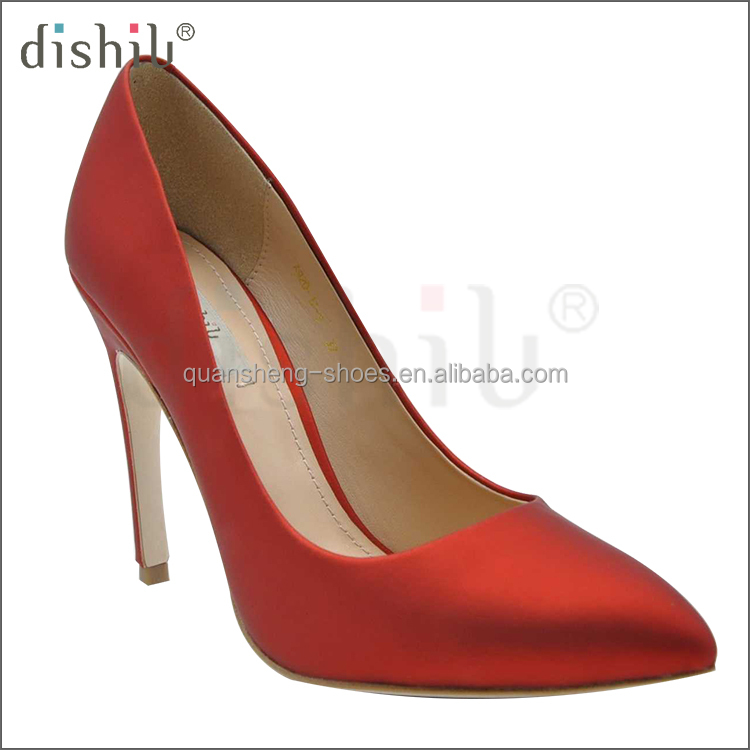 2017 Fashion Party Evening Leather Sexy Pump Pointed Toe Leather custom lady high heel dress shoe woman