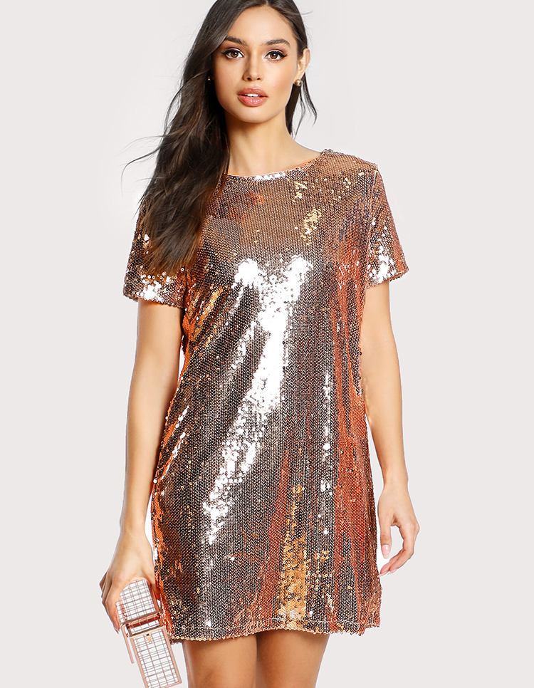 757ce6902cdf Women Sequin Dress Design Short Sleeve Round Neck Metallic Gold Sequin  Tunic Short Mini Dress