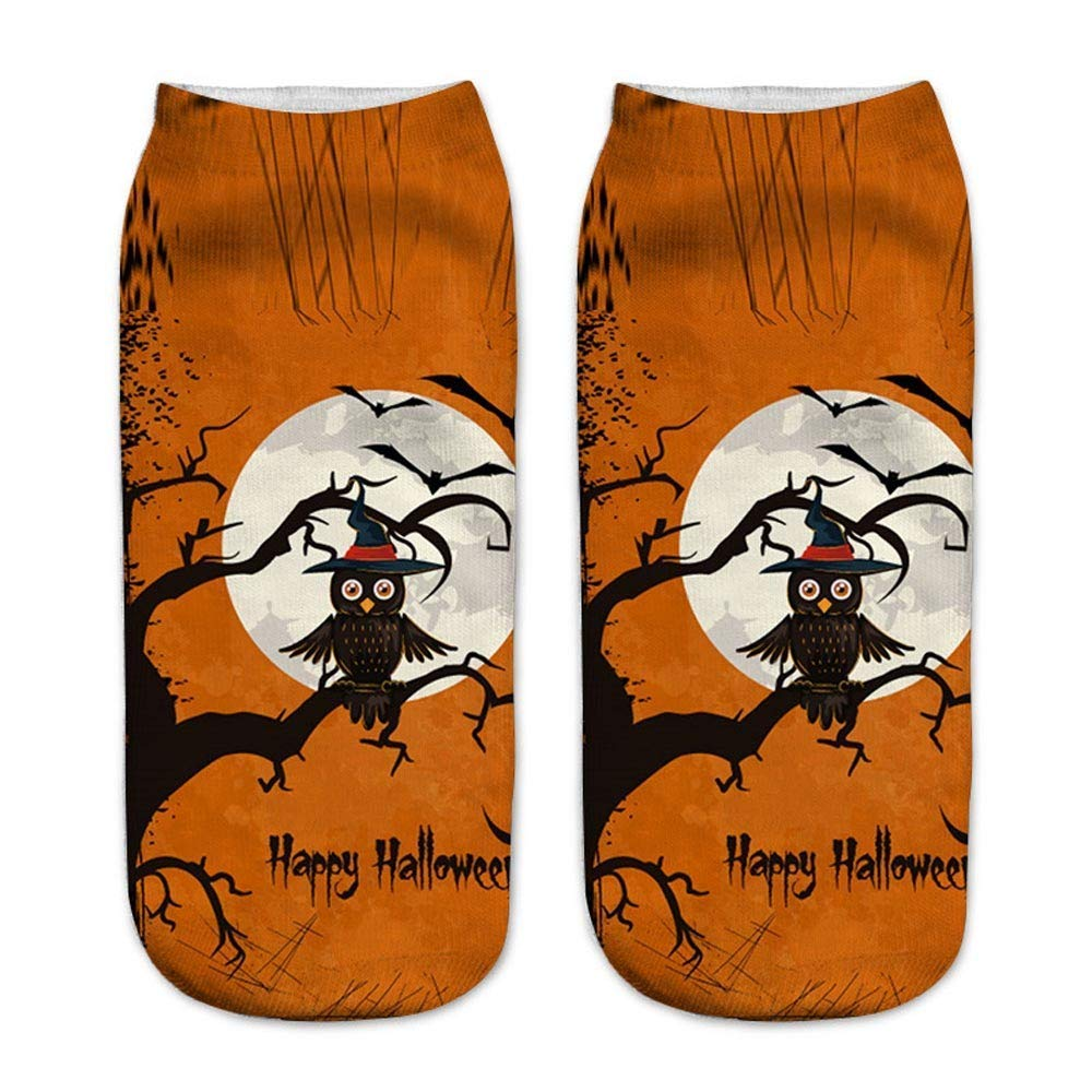 Casual Work Business Socks 3D Halloween Pumpkin Printing Medium Sports Socks