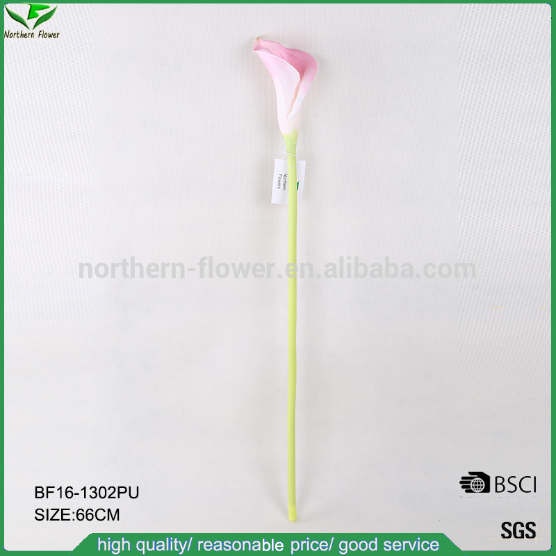 artificial PU flowers wholesale,natural touch pink artificial calla lilies