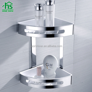 Hotel wall mount stainless steel double corner shower basket, mirror polishing bath shelves