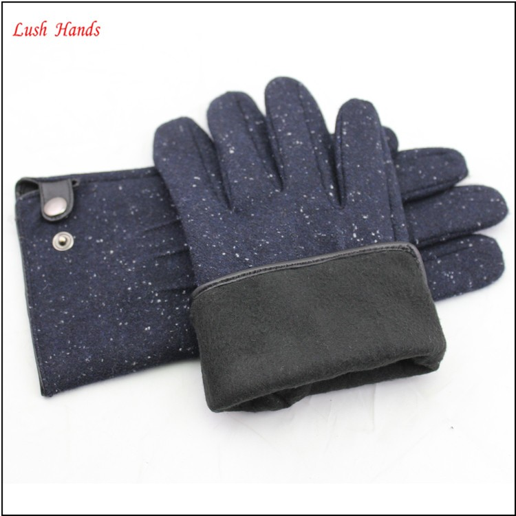 Mens hot sale smart phone touch finger woolen hand gloves with buttons