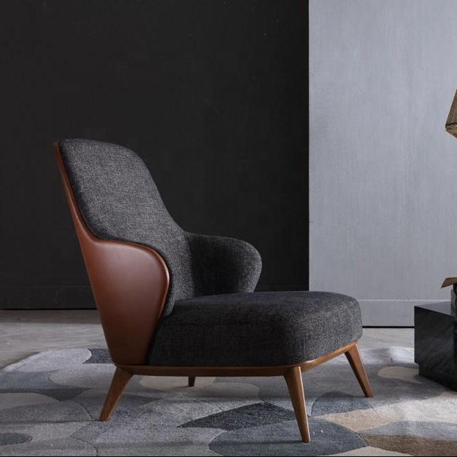 Diseño italiano muebles de sala de un solo asiento tela sillón reclinable Hotel sofá Silla con brazos