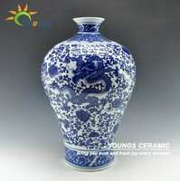 Antique Chinese Porcelain Blue And White Floral Dragon Vases