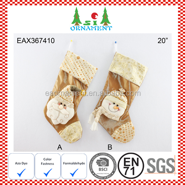 Golden christmas socks decoration