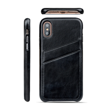 Back cover card holder leather cell phone accessories case for iPhone X