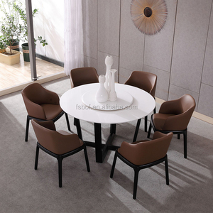 dining room furniture marble tops round dining table with rotating centre E4004