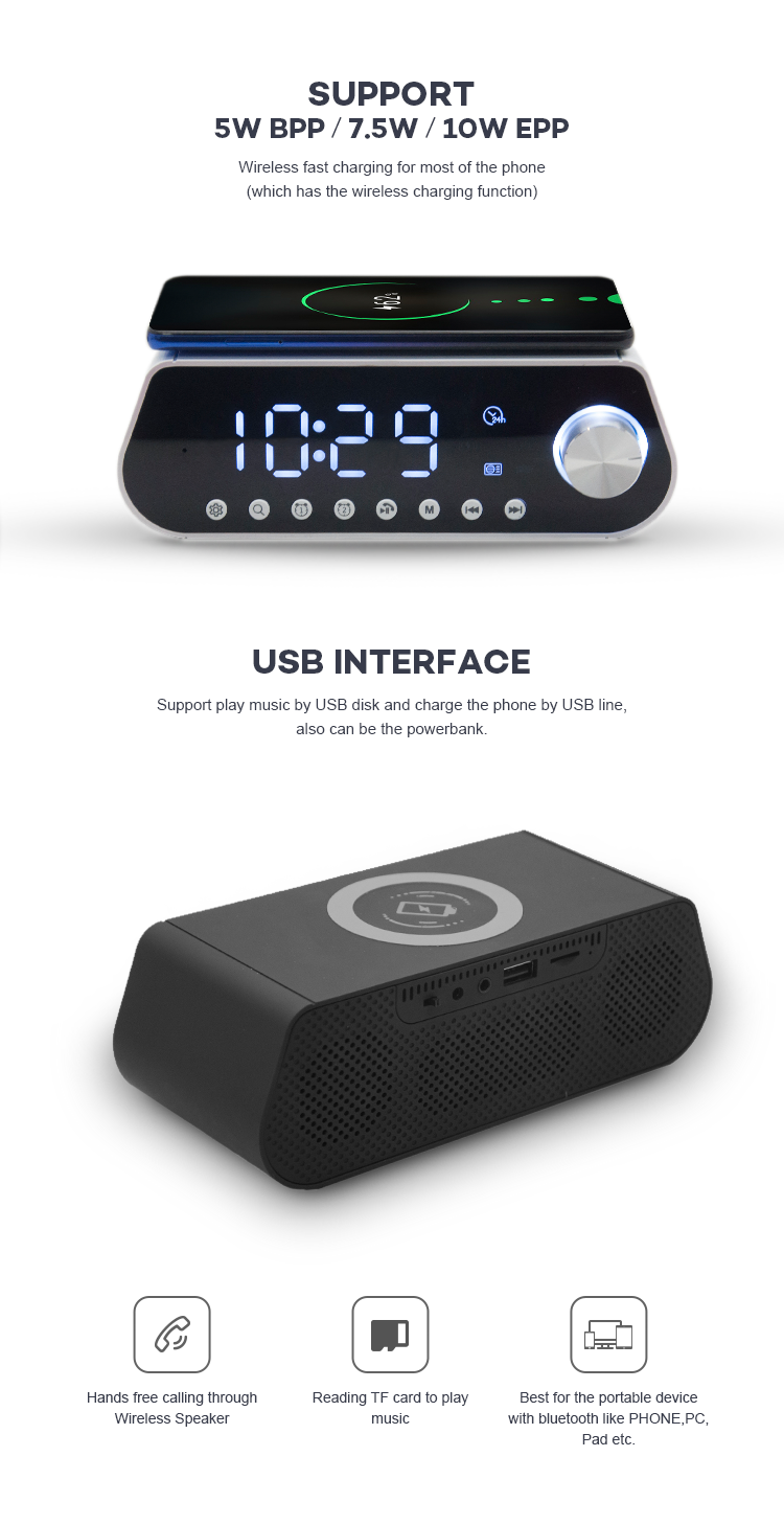 2 Way Alarm Clock Function Fast Qi Wireless Charger Bt Speaker