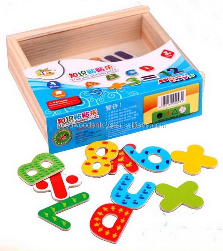 2016 Hot Sale Children Wooden Alphabets Toy Kids Educational Letters Game Magnetic Alphabet Letter for Baby