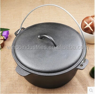 pre-seasoned cast iron round dutch oven with steel handle measuring 37x23cm