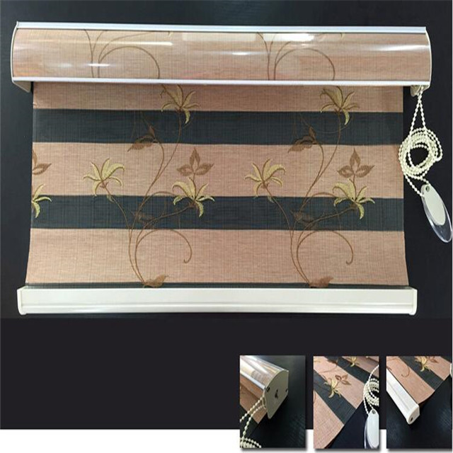 Home decor zebra roller blinds 100% polyester embroidery sunscreen window manual Shangri-La dual roller blinds