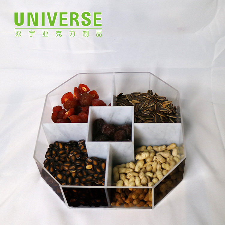 UNIVERSE clear plexiglass acrylic round candy box dry food dispenser