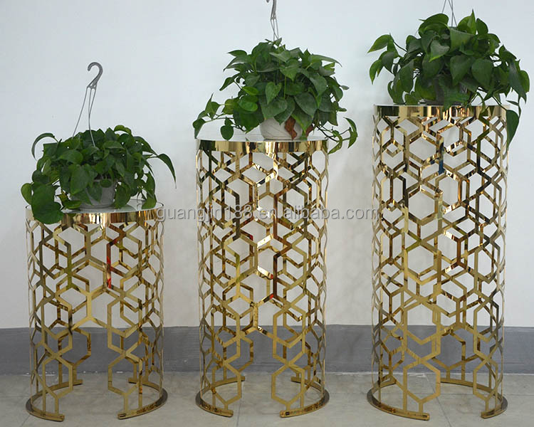 Modern gold stainless steel flower pot stand buy flower pot stand wrought iron flower pot - Steel pot plant stands ...