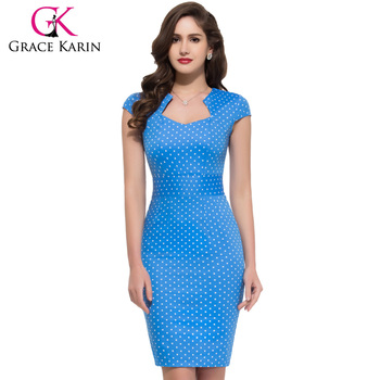 5de2f3676583 Grace Karin Cap Sleeve Cotton Vintage Retro style Pencil Dress CL007597-4