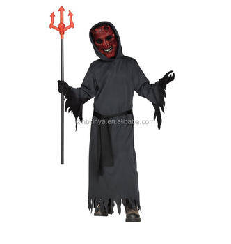 Kids Black Devil Ghost Costumes Halloween Party Evil Monster Dress-up Fancy Suits Boys Horror Demon Cosplay Sets