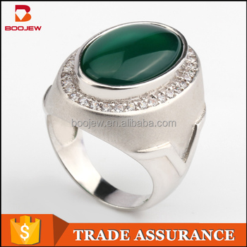 Indonesia lucky stone finger ring single stone ring designs for men silver men ring with green agate gemstone