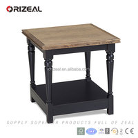 Black colour solid wood natural top double layer occasional end table
