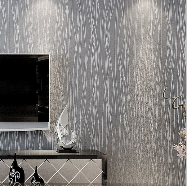 Silver Grey 3d Embossed Textured Stripes Modern Wallpaper For Walls Roll Gray Lines Plain Wall Paper Home Decor