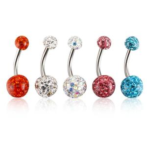 Crystal Belly Button Ring Surgical Steel Curved Navel Barbell Body Piercing 14G (1.6mm)