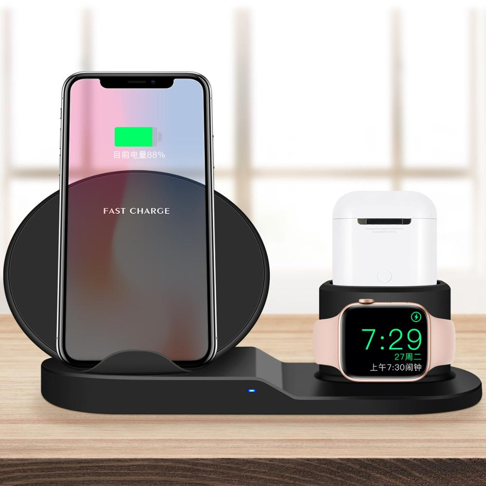 Charger Nirkabel 3 In 1 Stasiun Berdiri Dock Wireless Charger Stand For Apple Watch untuk Airpods untuk iPhone